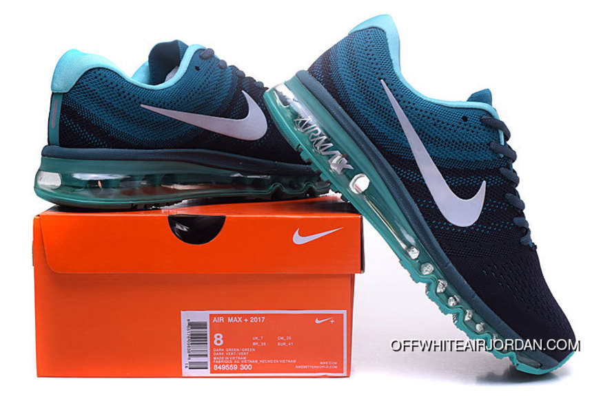 Air Max 2017 Flyknit Black Blue White Running Shoes Free Shipping